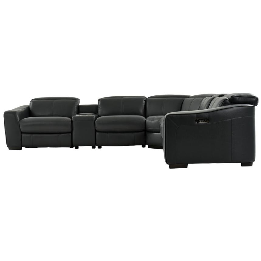 Jay Dark Gray Leather Power Reclining Sectional  alternate image, 4 of 8 images.