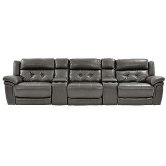 Stallion Gray Home Theater Leather Seating