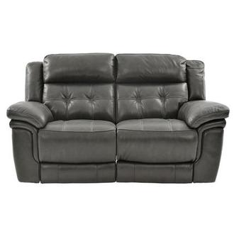 Stallion Gray Leather Power Reclining Loveseat