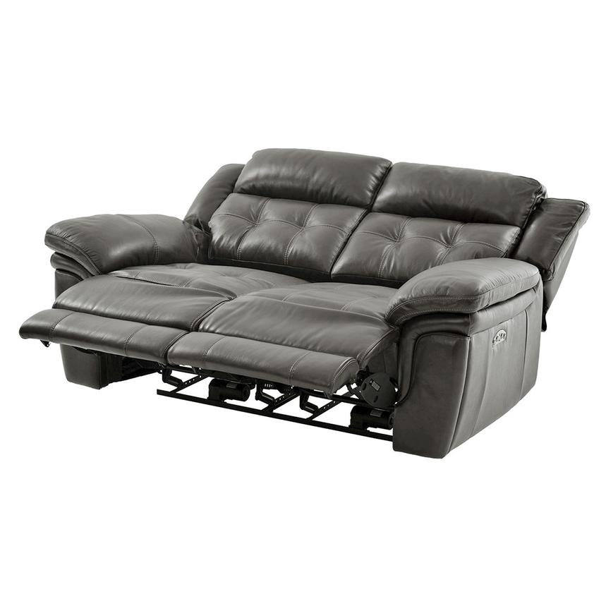 Stallion Gray Leather Power Reclining Loveseat  alternate image, 3 of 10 images.