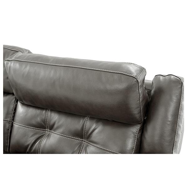 Stallion Gray Leather Power Reclining Loveseat  alternate image, 8 of 10 images.