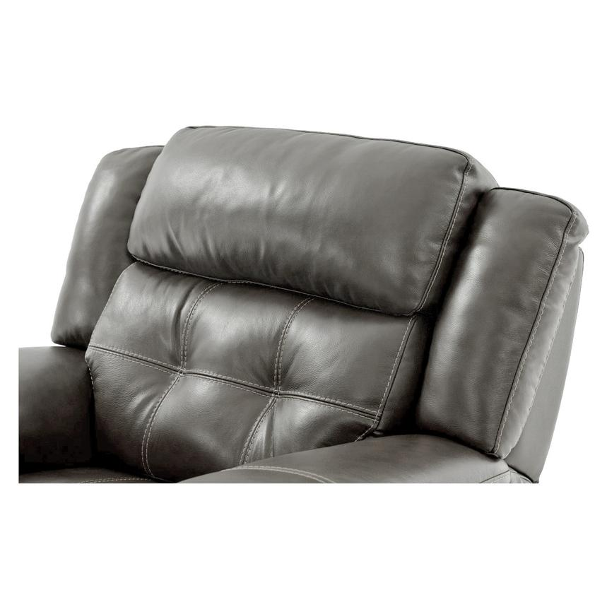 Stallion Gray Leather Power Recliner  alternate image, 5 of 9 images.