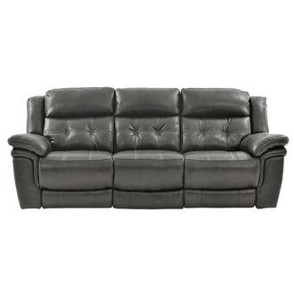 Stallion Gray Leather Power Reclining Sofa