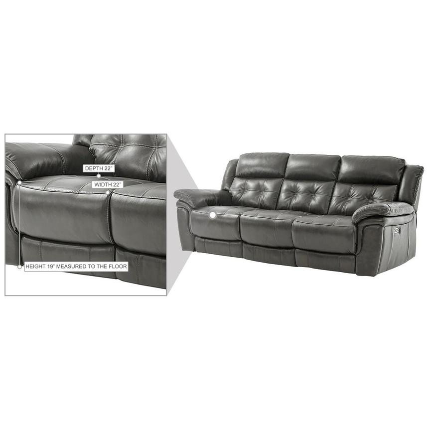 Stallion Gray Leather Power Reclining Sofa  alternate image, 10 of 10 images.