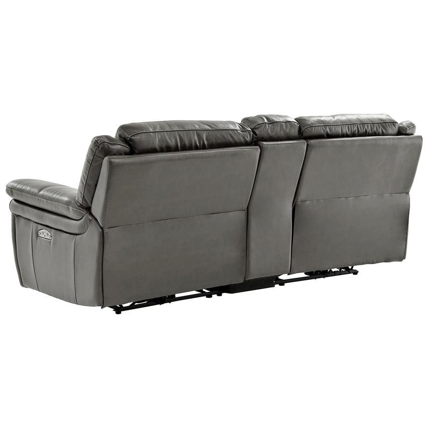 Stallion Gray Leather Sofa w/Console  alternate image, 4 of 9 images.