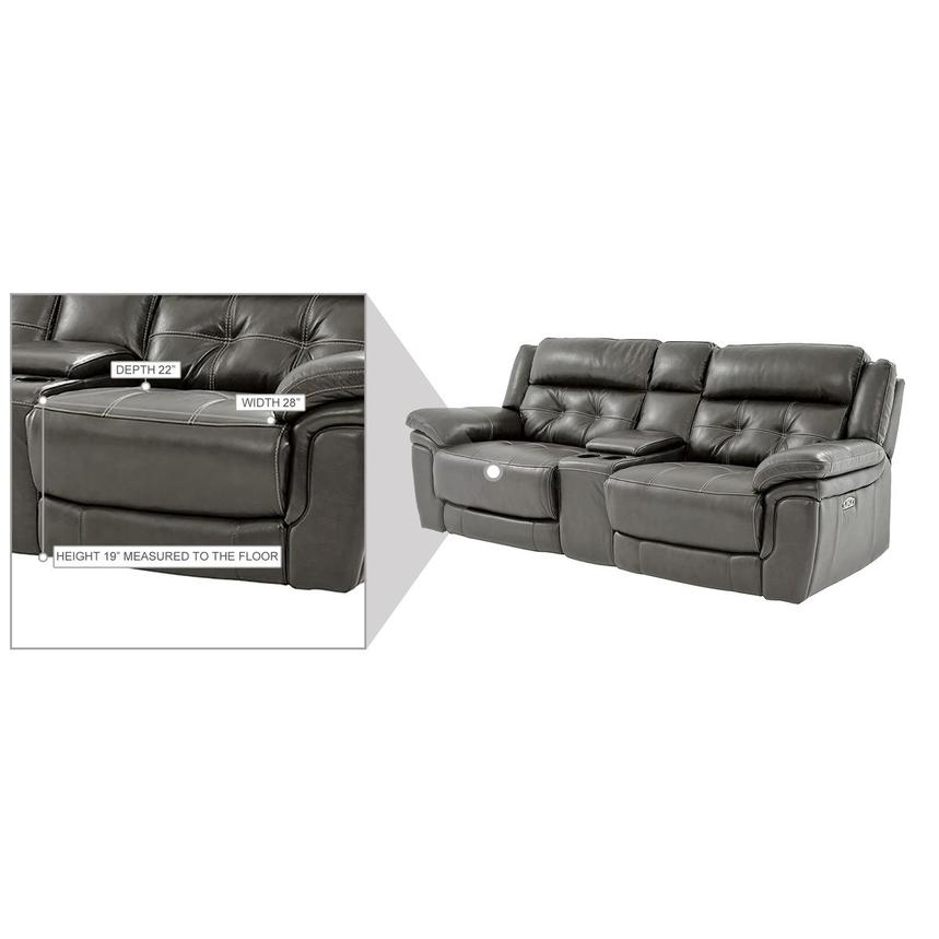 Stallion Gray Leather Power Reclining Sofa w/Console  alternate image, 10 of 10 images.