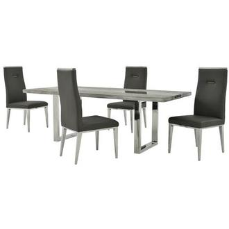 Skyscraper/Hyde I Dark Gray 5-Piece Dining Set