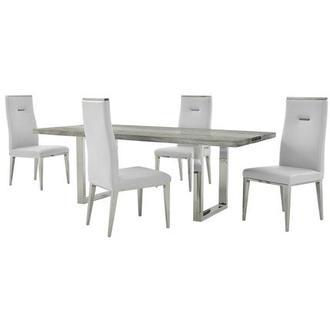 Skyscraper/Hyde I White 5-Piece Dining Set