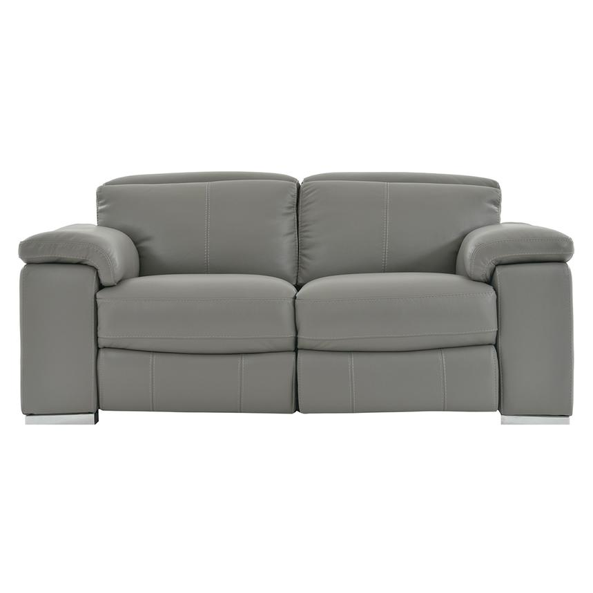 Charlie Gray Leather Power Reclining Loveseat  main image, 1 of 11 images.
