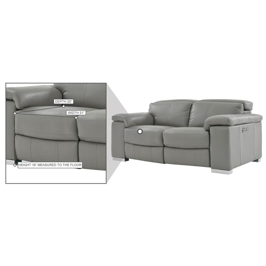 Charlie Gray Leather Power Reclining Loveseat  alternate image, 9 of 9 images.