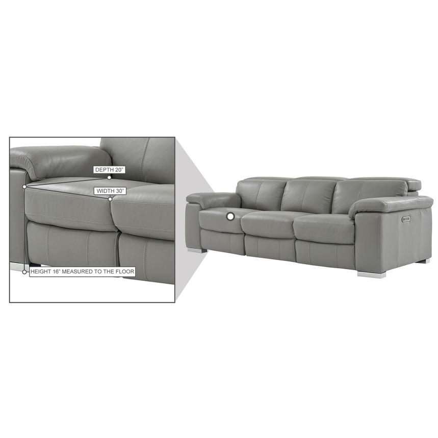 Charlie Gray Leather Power Reclining Sofa  alternate image, 9 of 9 images.