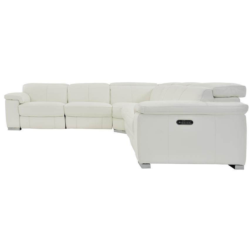 Charlie White Leather Power Reclining Sectional  alternate image, 5 of 11 images.