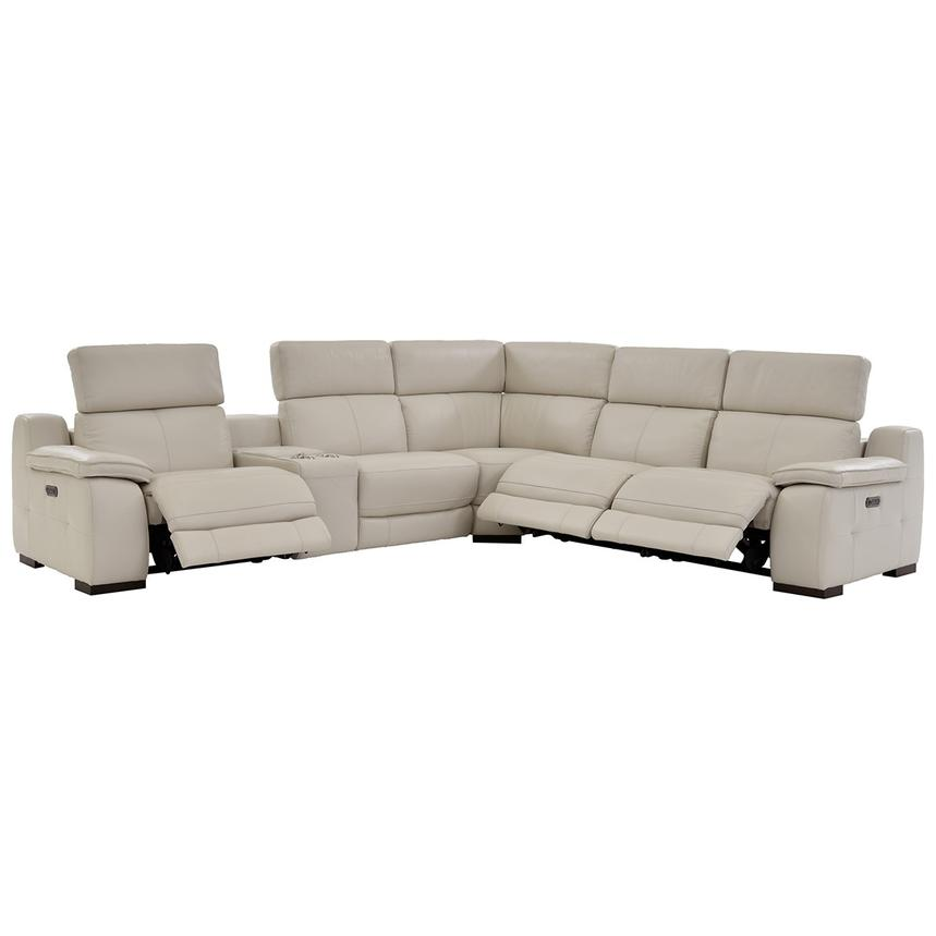 Gian Marco Cream Leather Power Reclining Sectional  alternate image, 3 of 9 images.
