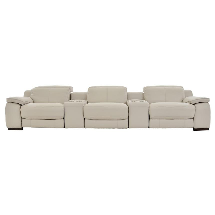 Gian Marco Cream Home Theater Leather Seating  main image, 1 of 10 images.