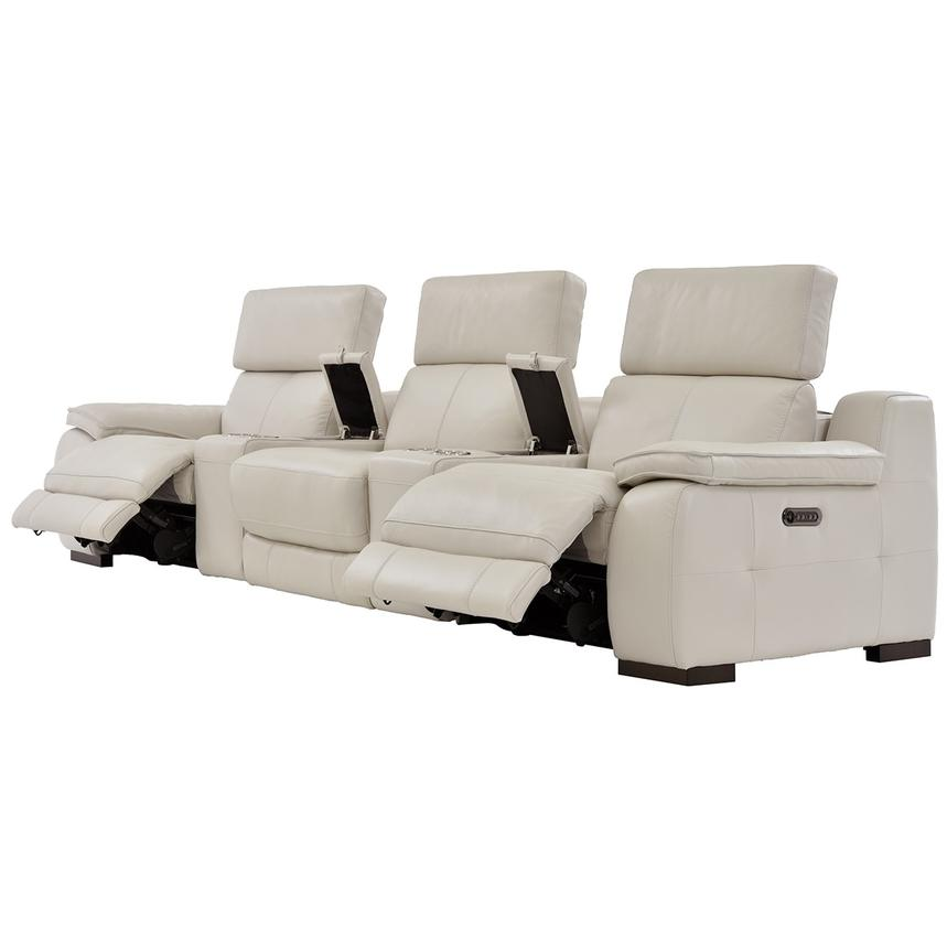 Gian Marco Cream Home Theater Leather Seating  alternate image, 4 of 10 images.