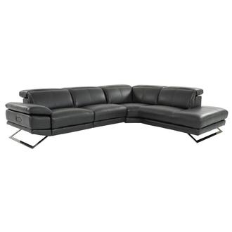 Toronto Dark Gray Leather Power Reclining Sofa w/Right Chaise