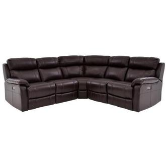 Ronald Brown Power Motion Leather Sofa w/Right & Left Recliners