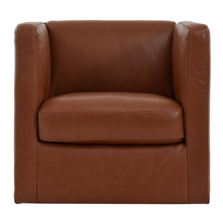 Cute Brown Leather Swivel Chair  main image, 1 of 8 images.