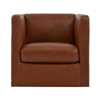 Cute Brown Leather Swivel Chair