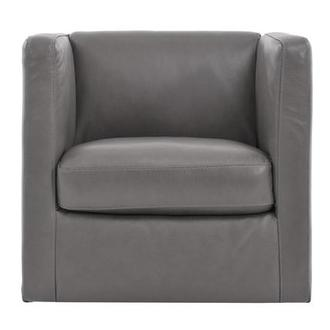 Cute Light Gray Leather Swivel Chair