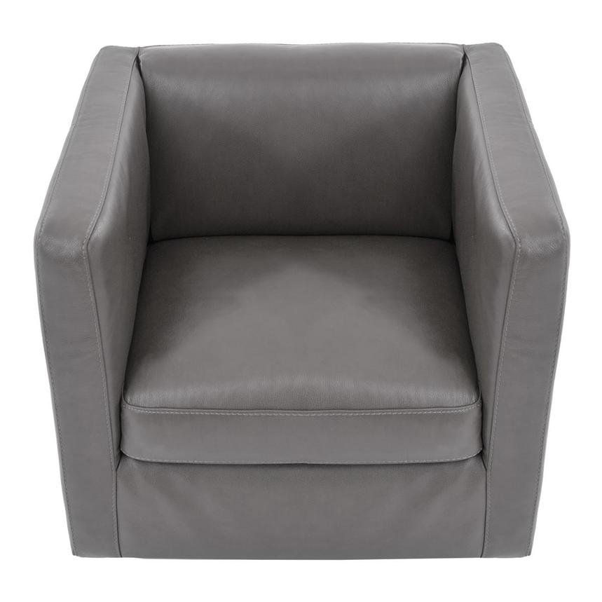 Cute Light Gray Leather Swivel Chair  alternate image, 5 of 7 images.