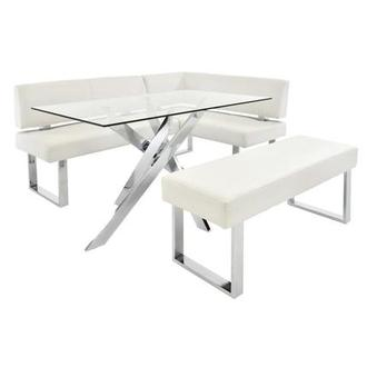 Linden Clear/White Right Corner Nook Set w/Bench