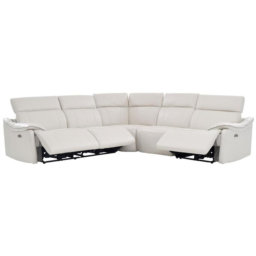 Austin White Leather Power Reclining Sectional  alternate image, 2 of 8 images.