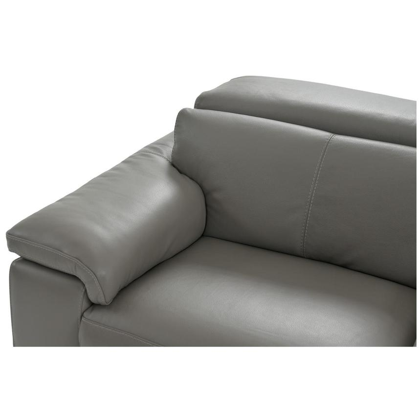 Charlie Gray Power Motion Leather Sofa w/Right & Left Recliners  alternate image, 4 of 9 images.