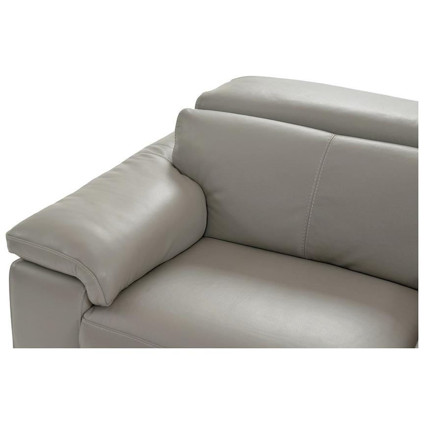 Charlie Light Gray Leather Power Reclining Sectional  alternate image, 4 of 9 images.