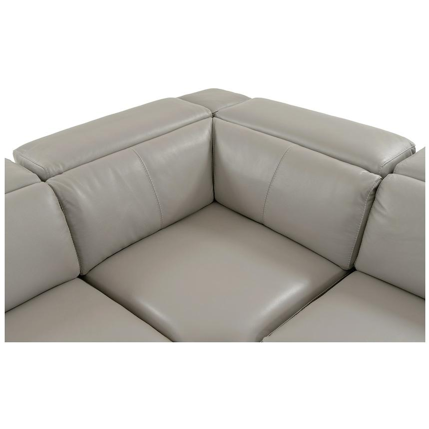 Charlie Light Gray Leather Power Reclining Sectional  alternate image, 5 of 10 images.