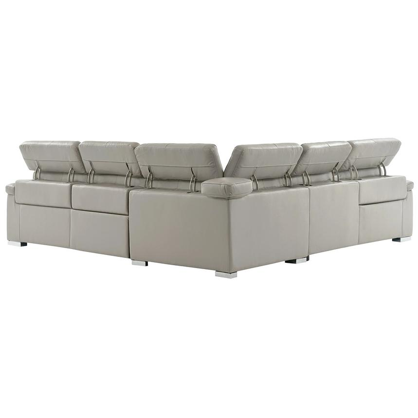 Charlie Light Gray Leather Power Reclining Sectional  alternate image, 3 of 11 images.