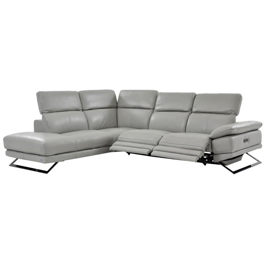 Toronto Light Gray Power Motion Leather Sofa w/Left Chaise  alternate image, 2 of 7 images.