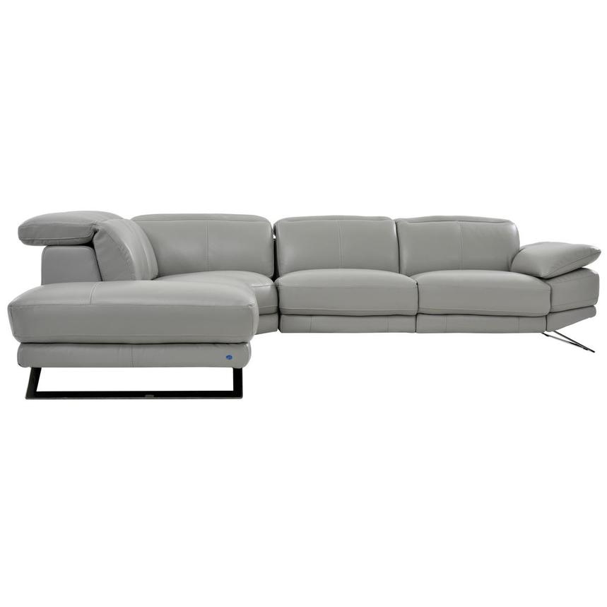 Toronto Light Gray Leather Power Reclining Sofa w/Left Chaise  alternate image, 3 of 7 images.