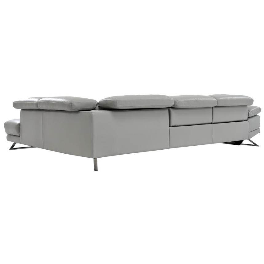Toronto Light Gray Leather Reclining Sofa W Right Chaise
