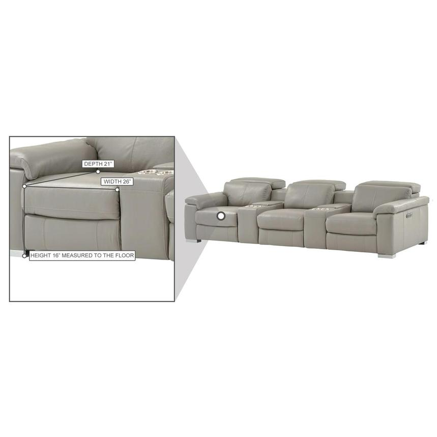 Charlie Light Gray Home Theater Leather Seating  alternate image, 11 of 11 images.
