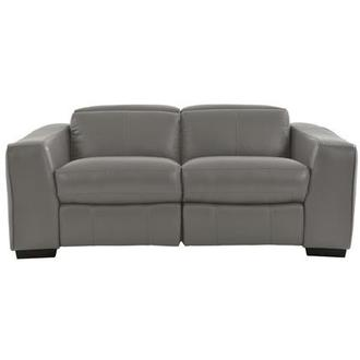 Jay Gray Leather Power Reclining Loveseat