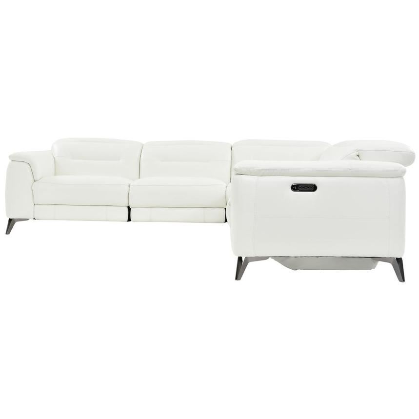 Anabel White Leather Power Reclining Sectional  alternate image, 3 of 9 images.