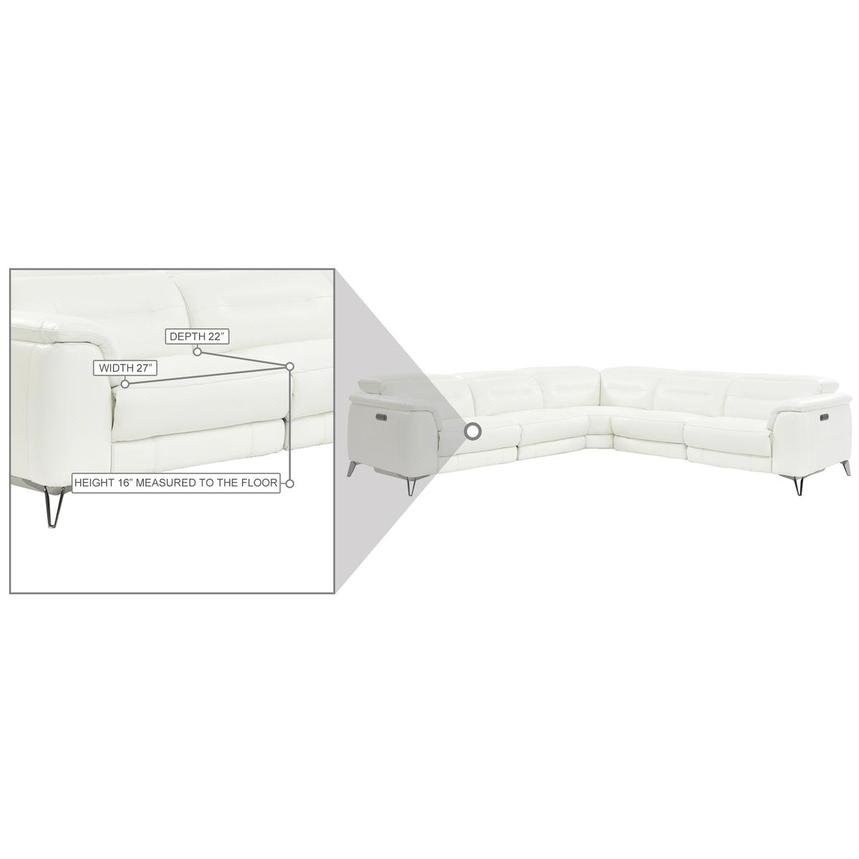 Anabel White Leather Power Reclining Sectional  alternate image, 8 of 9 images.