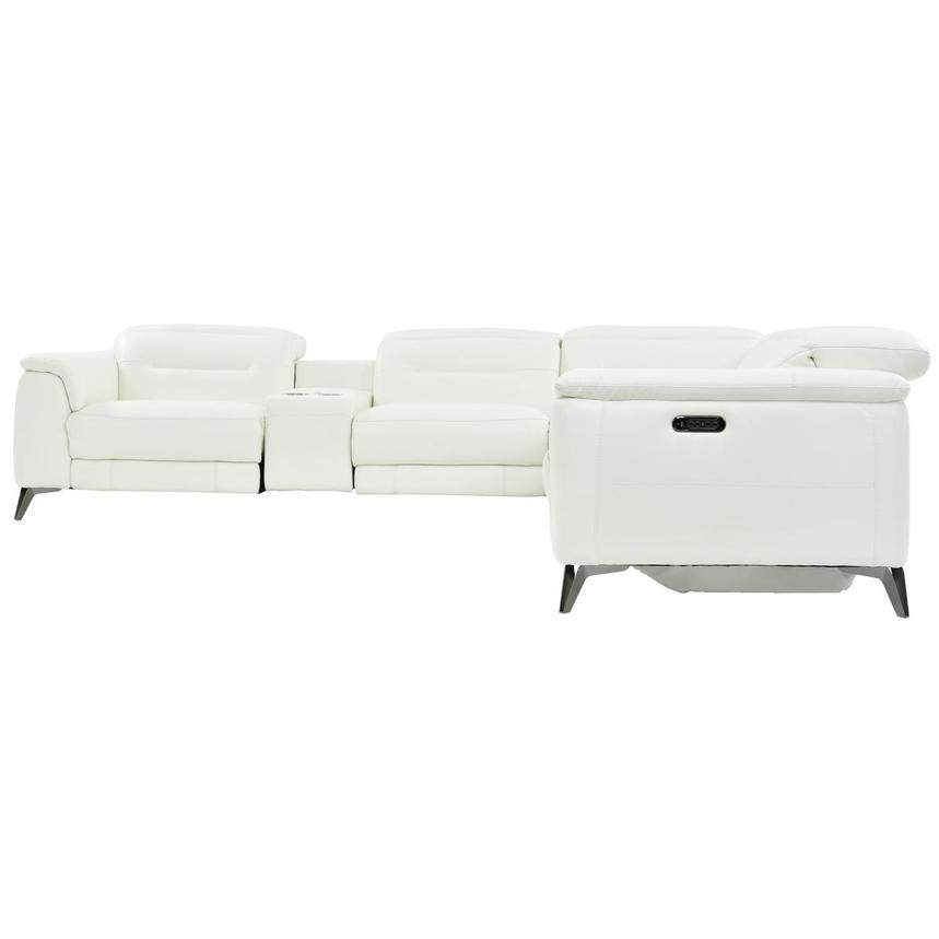 Anabel White Leather Power Reclining Sectional  alternate image, 3 of 10 images.