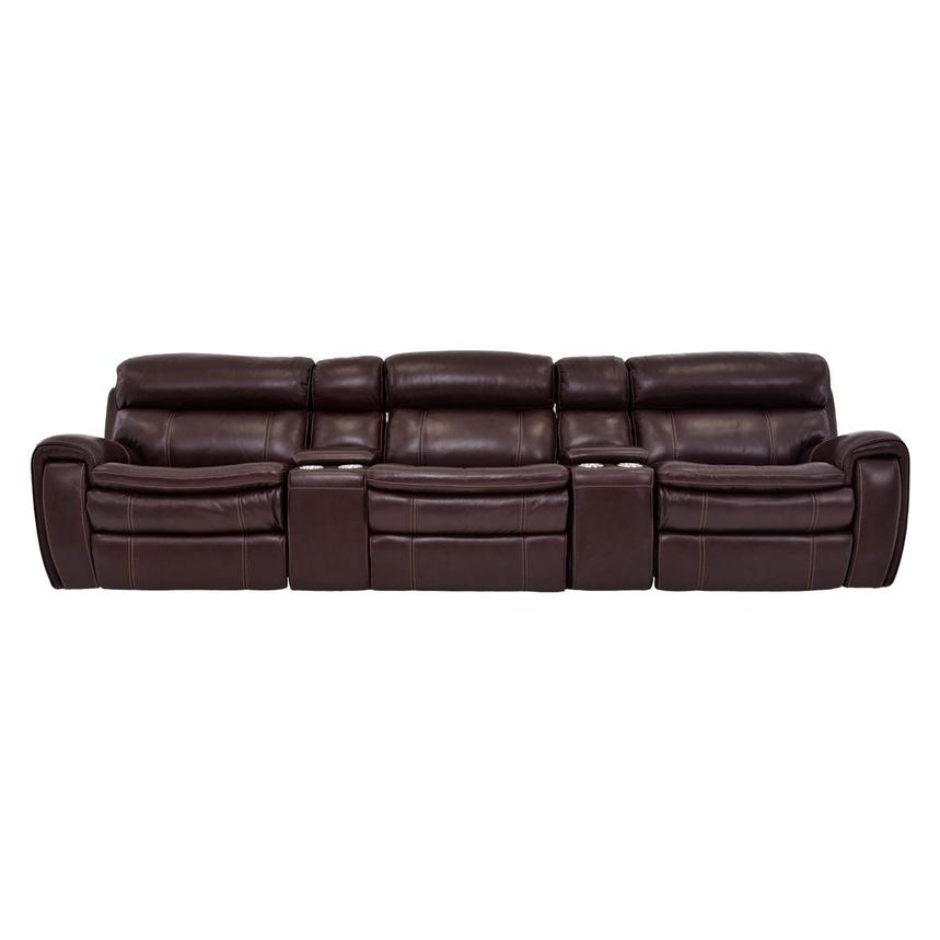 Napa Burgundy Home Theater Leather Seating  main image, 1 of 10 images.