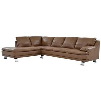 Rio Tan Leather Sofa w/Left Chaise