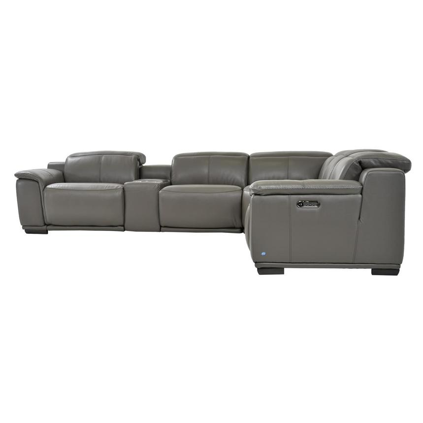 Davis 2.0 Dark Gray Leather Power Reclining Sectional  alternate image, 4 of 9 images.