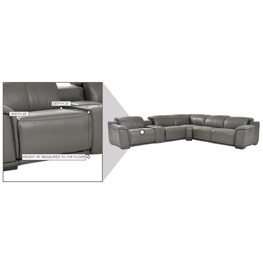 Davis 2.0 Dark Gray Leather Power Reclining Sectional  alternate image, 9 of 9 images.