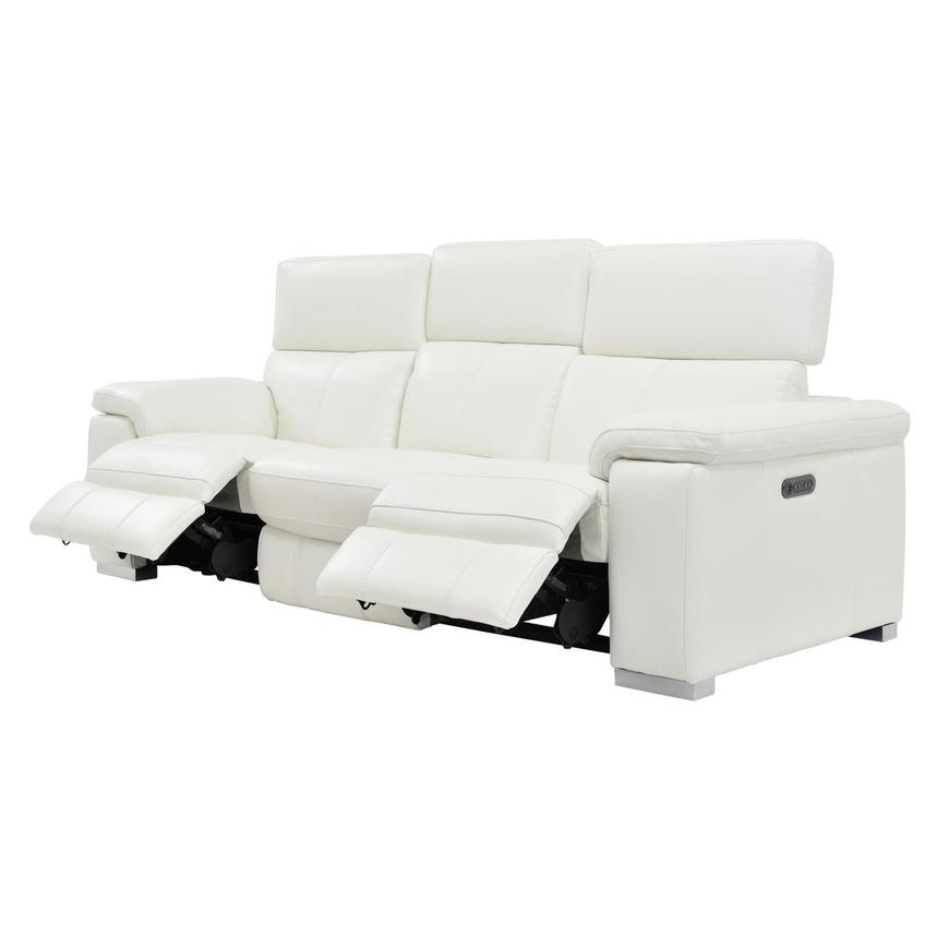 Charlie White Leather Power Reclining Sofa  alternate image, 5 of 10 images.