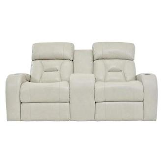 Gio Cream Power Motion Leather Sofa w/Console