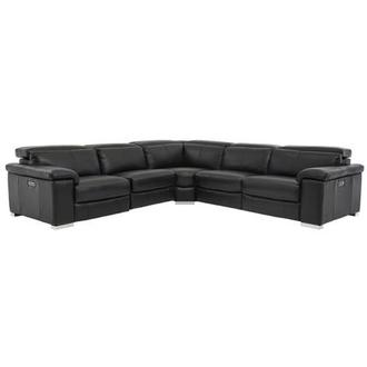 Charlie Black Leather Power Reclining Sectional