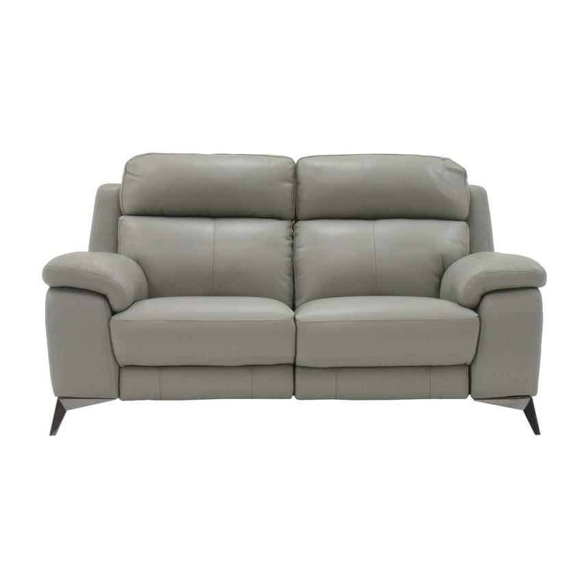 Barry Gray Leather Power Reclining Loveseat  main image, 1 of 10 images.