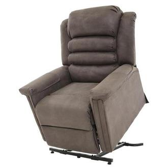 Soother Gray Power-Lift Leather Recliner