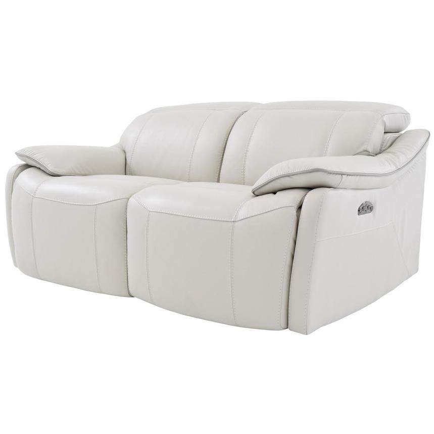 Austin White Leather Power Reclining Loveseat  alternate image, 2 of 8 images.