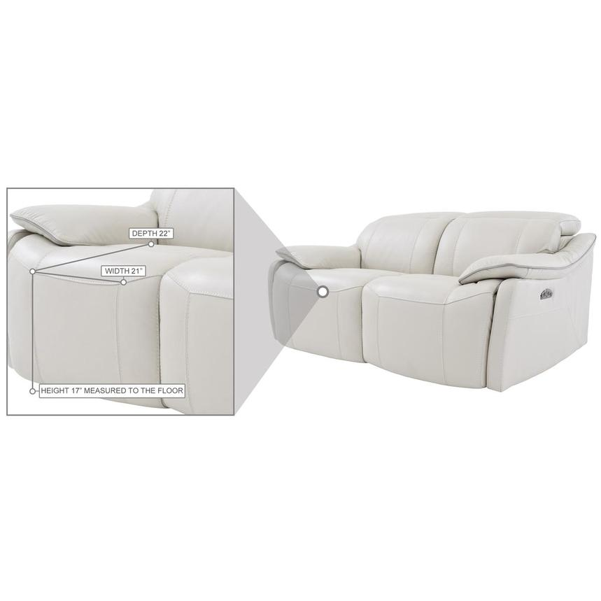 Austin White Leather Power Reclining Loveseat  alternate image, 7 of 8 images.